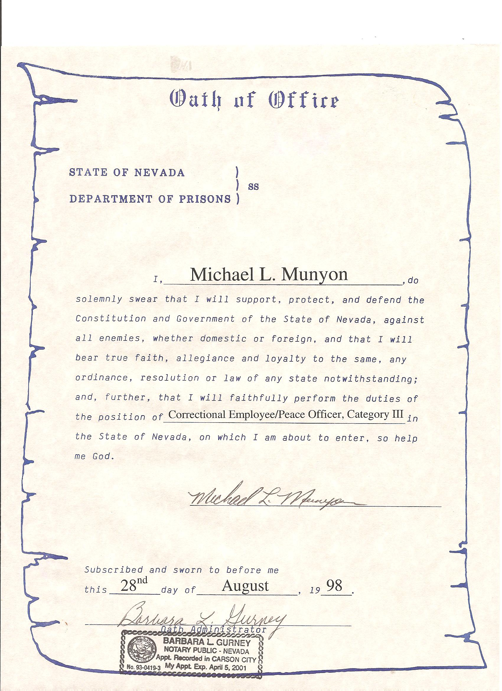 Credentials munyons korean martial arts academy oath of office peace and correctional officer certificate xflitez Images